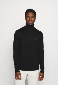 Tommy Hilfiger Tailored - FINE GAUGE LUXURY ROLL - Jumper - black - 0