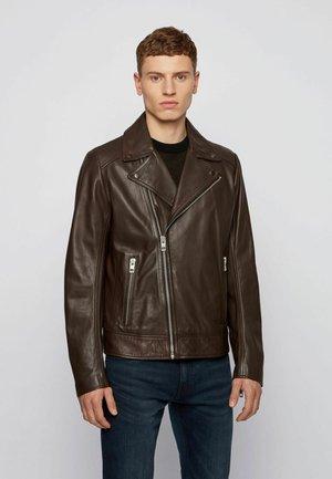 JABIN - Leather jacket - dark brown