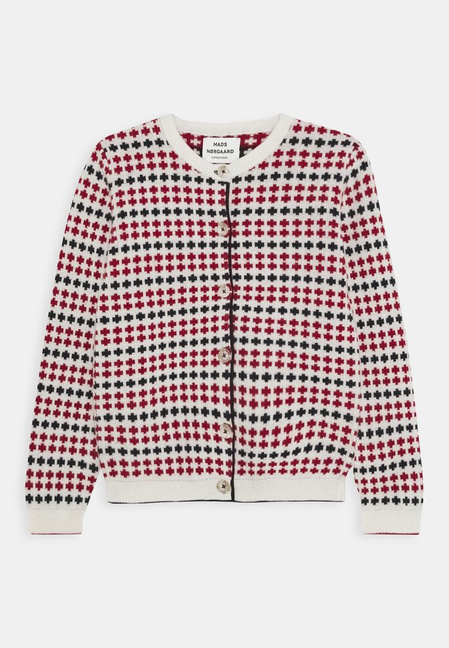 ECO ICELAND CARMINO - Cardigan - ecru/red/navy