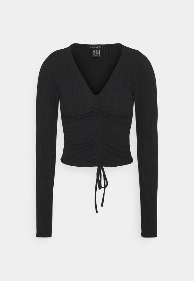 RUCHED FRONT - Long sleeved top - black