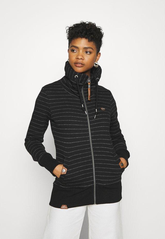RYLIE STRIPE ZIP - Zip-up hoodie - black