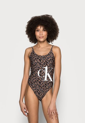 SCOOP BACK ONE PIECE PRINT - Uimapuku - brown/black