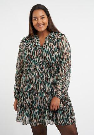 Day dress - multi green khaki