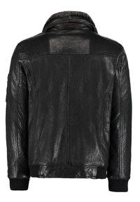 DNR Jackets - MIT KONTRASTFUTTER UND REISSVERSCHLUSS - Leather jacket - dunkelgrau - 1