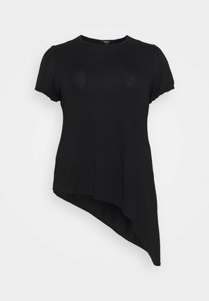 PUFF SLEEVE ASYMMETRIC  - T-shirt imprimé - black