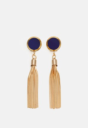 DISC WITH TASSEL - Earrings - blue/gold-coloured