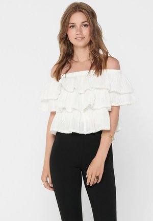 OFF SHOULDER CROPPED RÜSCHEN - Top - eggnog