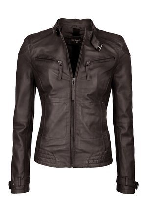 RYANA - Leather jacket - dark brown