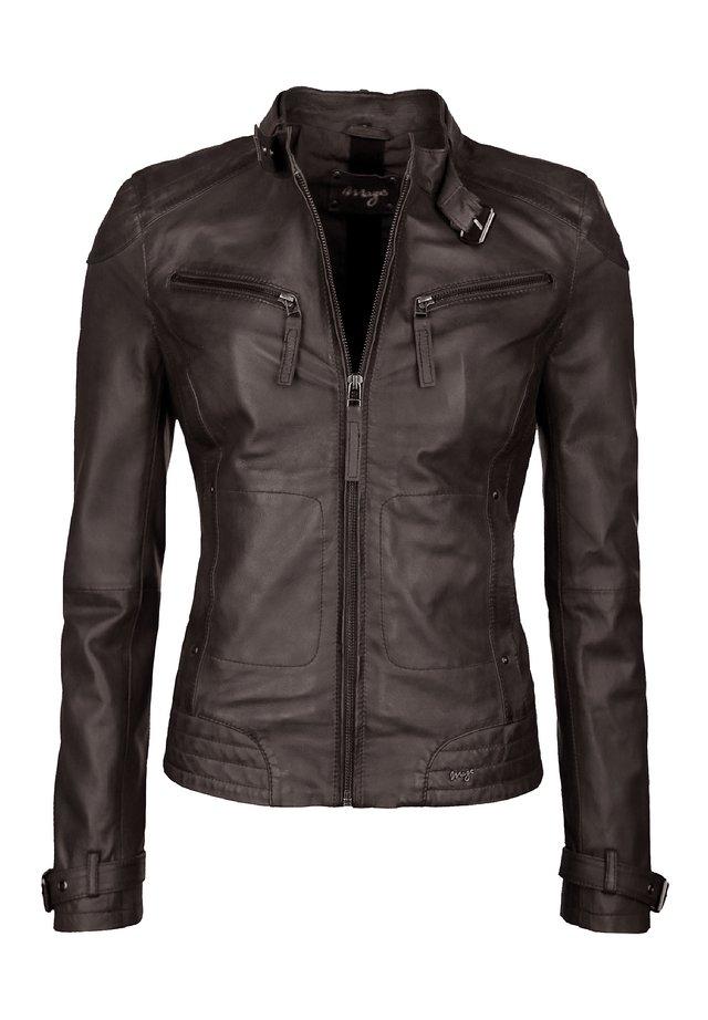 RYANA - Leren jas - dark brown
