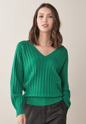 RIB V-NECK - Pullover - green