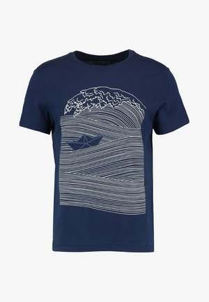 Print T-shirt - dark blue/white