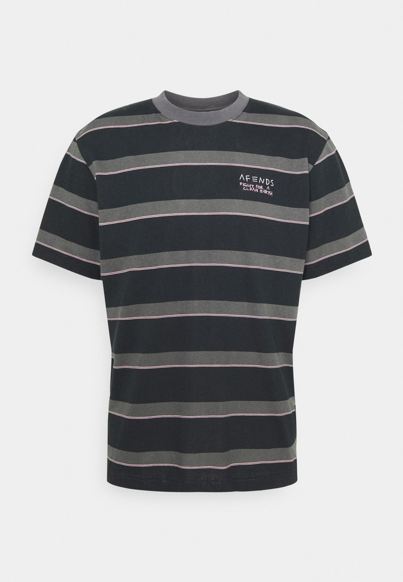 Afends - FIGHT STRIPE RETRO FIT TEE UNISEX - Print T-shirt - black