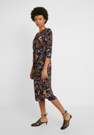 Day dress - deep blue patterned