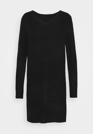 PCELLEN V NECK DRESS - Stickad klänning - black