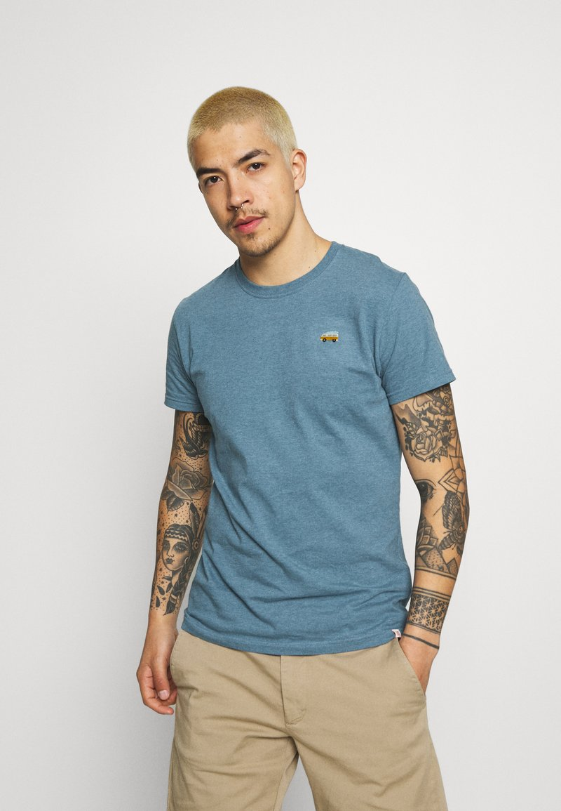 REVOLUTION - REGULAR - Basic T-shirt - blue melange