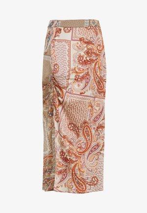 PAISLEY PRINT RUCHED SLIT MIDI SKIRT - Pencil skirt - rust