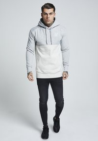 SIKSILK - DROP SHOULDER CUT SEW HOODIE - Hoodie - grey marl off-white