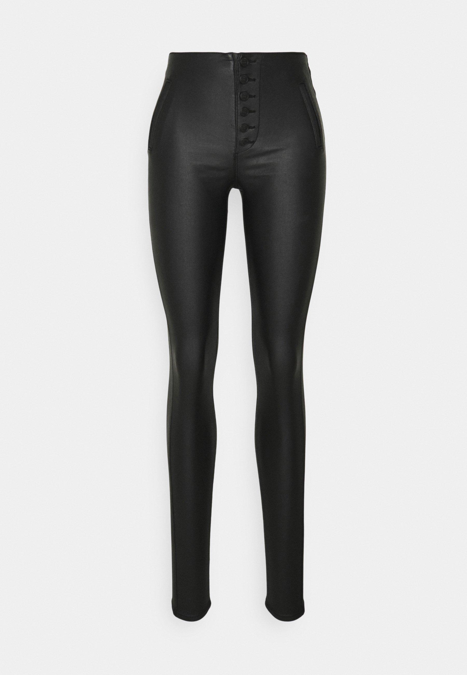 Damen ONLROYAL COATED BUTTON PANT - Lederhose