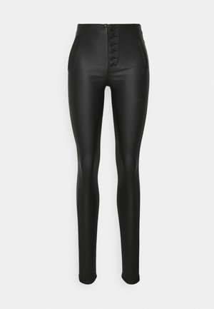 ONLROYAL COATED BUTTON PANT - Leather trousers - black