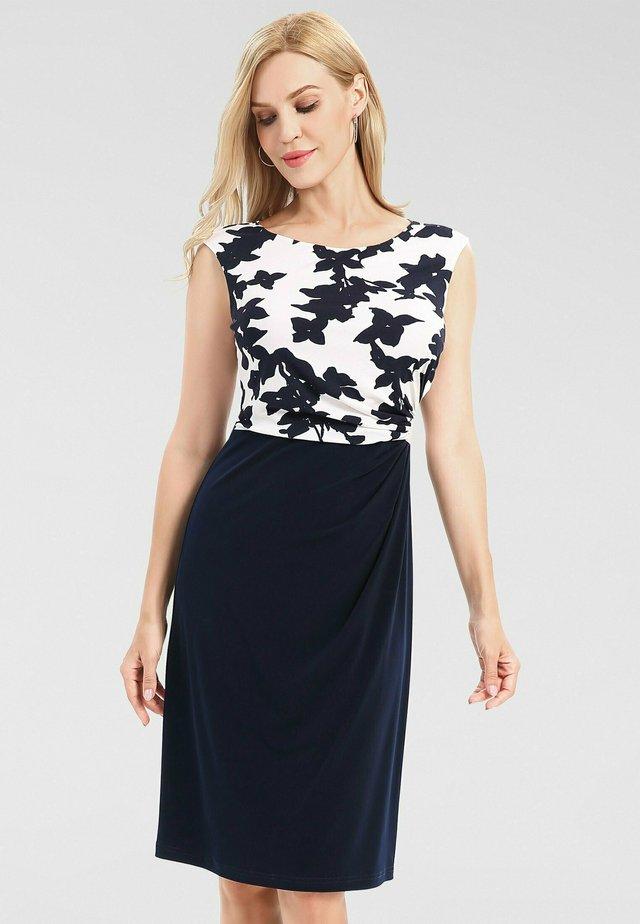 Korte jurk - creme-nachtblau