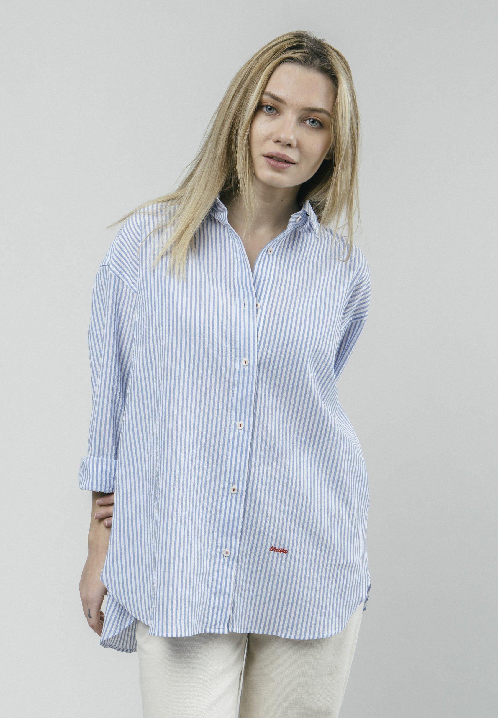 Fashion Style Factory Outlet Women's Clothing Brava Fabrics SAKURAYA TEA Button-down blouse blue 4cLXVxUE0 vdzEkQbUS