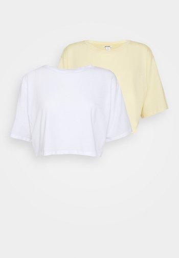 2 PACK - T-shirt basique - white light/yellow light