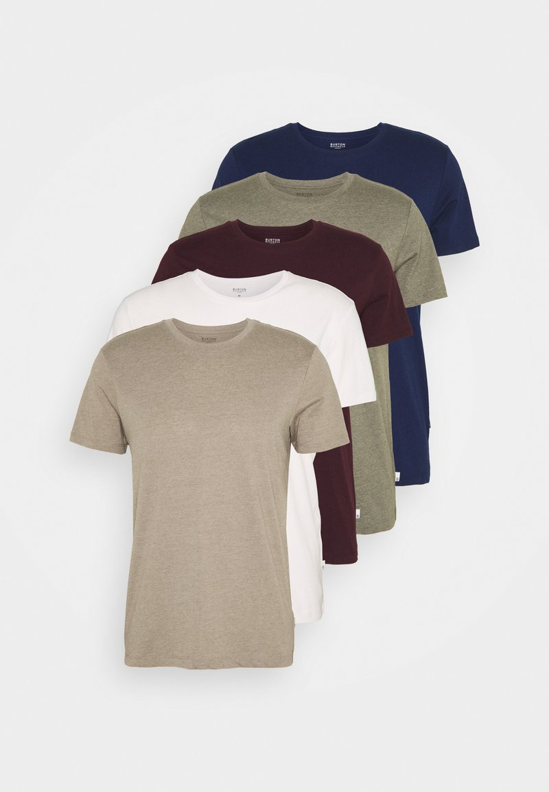 Burton Menswear London - SHORT SLEEVE CREW 5 PACK - T-paita - off white/inidgo/burgundy/dusty olive/mushroom