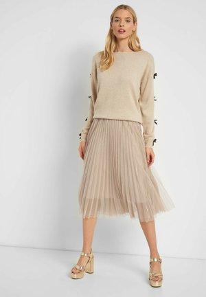 MIT METALLIC-GARN - A-line skirt - desert beige