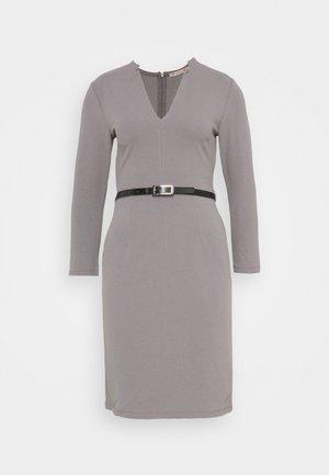 Quarter sleeves mini bodycon dress with belt - Pouzdrové šaty - mottled dark grey
