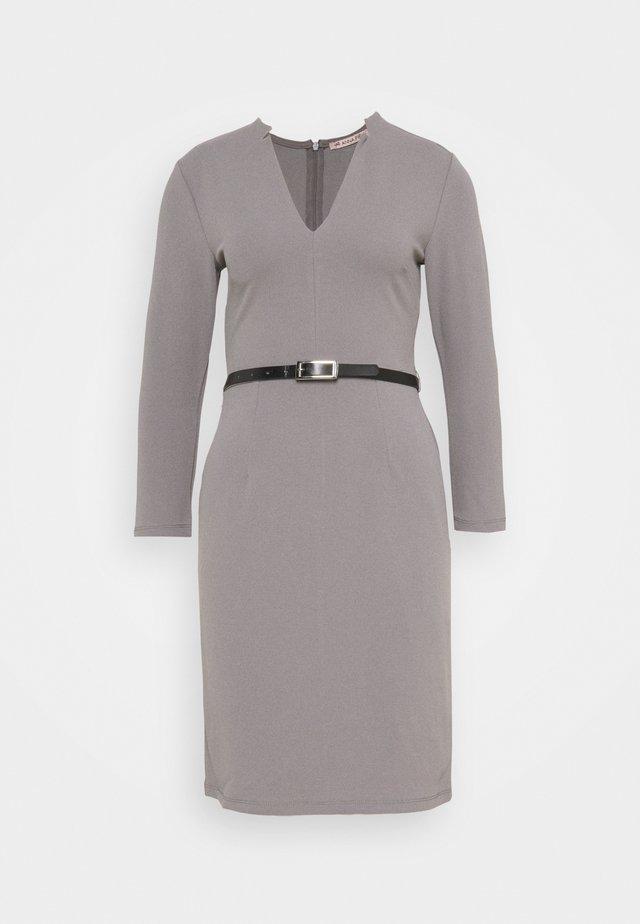 Quarter sleeves mini bodycon dress with belt - Etuikleid - mottled dark grey