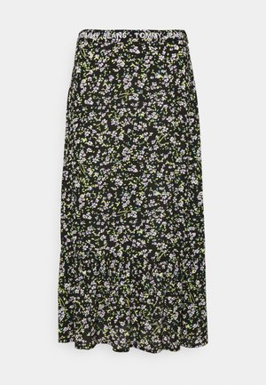 TIERED FLORAL MIDI SKIRT - A-line skirt - black