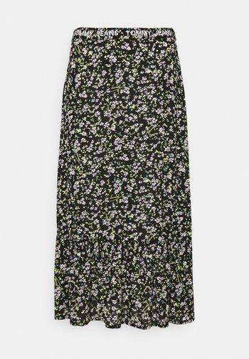 TIERED FLORAL MIDI SKIRT - A-line skirt - black