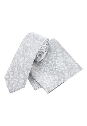 PINK FLORAL SILK TIE AND POCKET SQUARE SET - Tie - silver