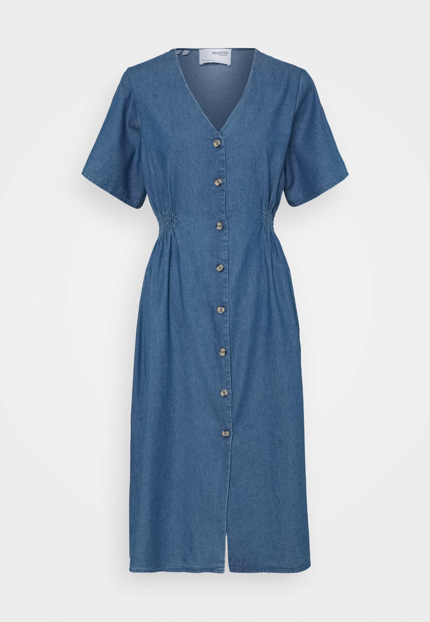 Women SLFCLARISA V NECK DRESS - Denim dress