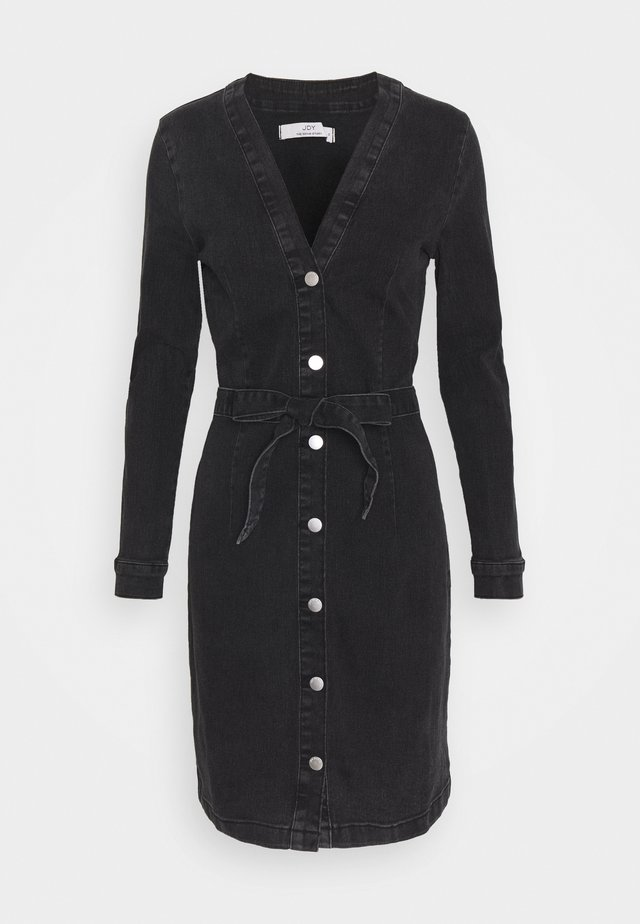 JDYSANNA LIFE BELTED BUTTON DRESS - Denim dress - grey denim