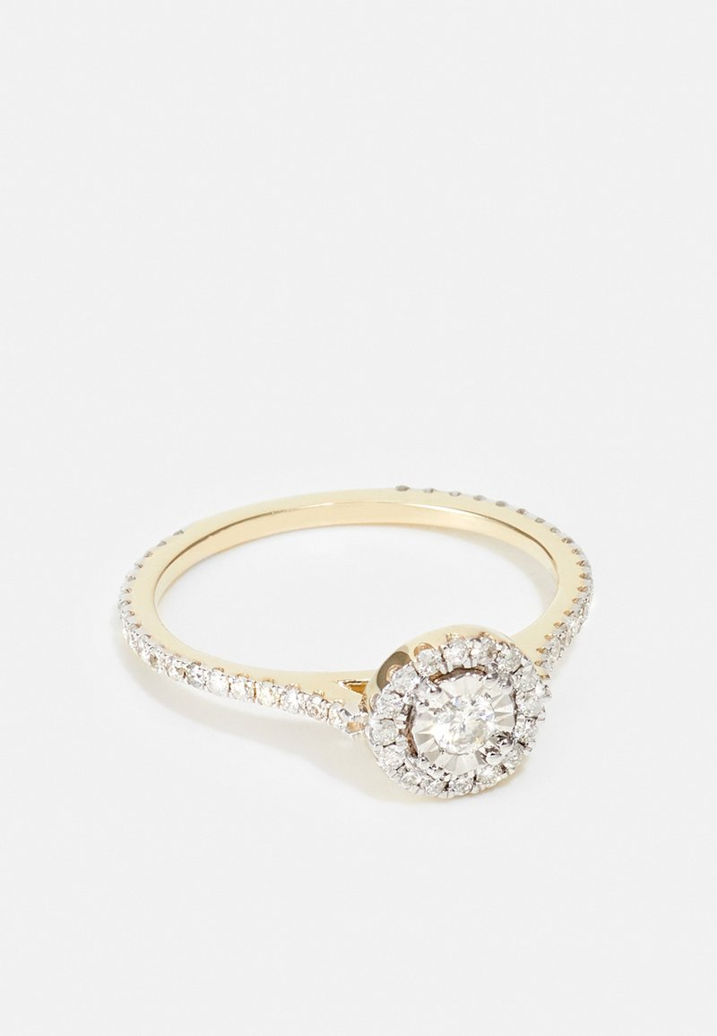 DIAMANT L'ÉTERNEL - NATURAL DIAMOND RING CERTIFIED 0.44CARAT HALO DIAMOND RINGS 9KT YELLOW GOLD DIAMOND JEWELLERY GIFTS FOR WOMENS - Ring - gold