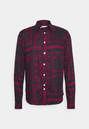 PAISLEY OVERSHIRT - Shirt - black/bordeaux