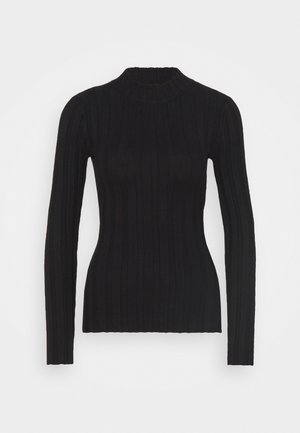 WIDE RIB JUMPER - Strikkegenser - black