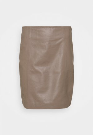 ELECTRA - Leather skirt - grey