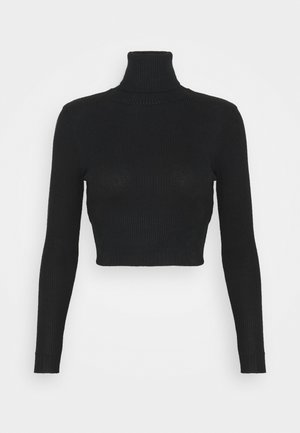 ROLL NECK CROP JUMPER - Jumper - black