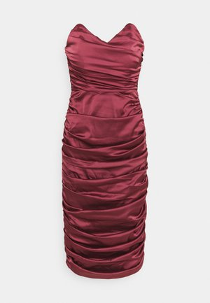 RUCHED SWEETHEART NECK MIDI DRESS - Sukienka koktajlowa - burgundy