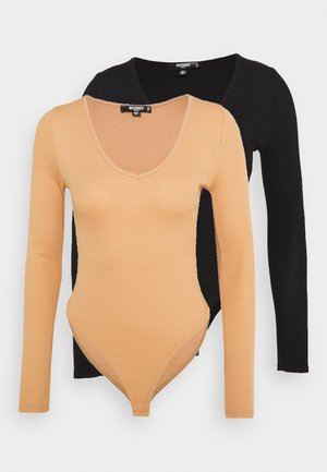 MACARON V NECK BODYSUIT 2PACK - Long sleeved top - black/purple