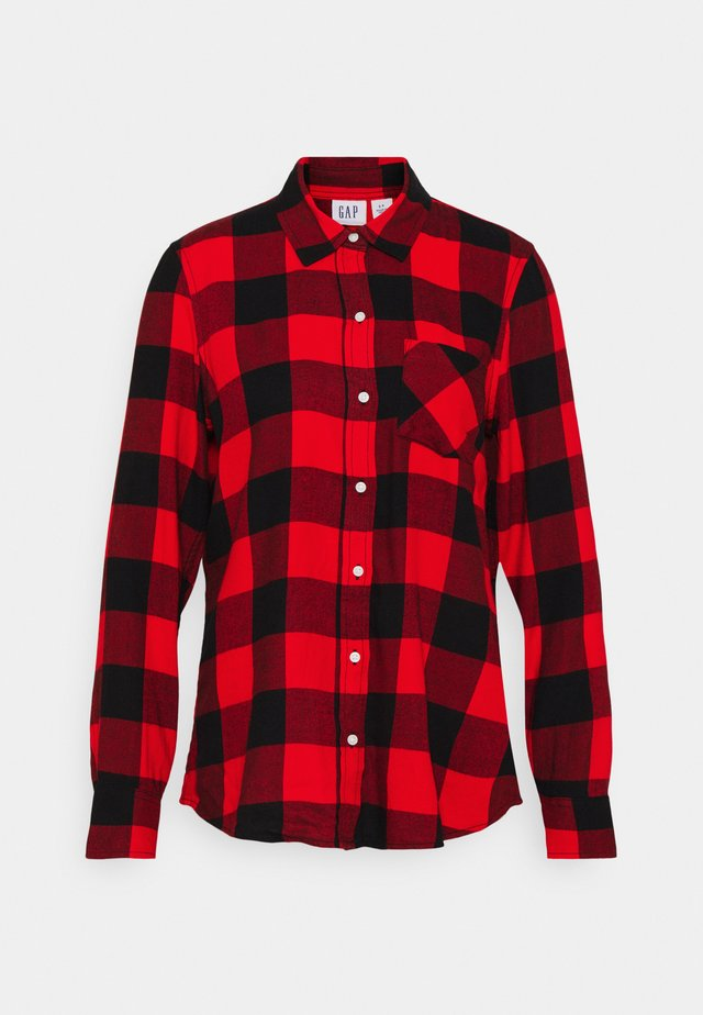 DRAPEY PLAID  - Button-down blouse - red