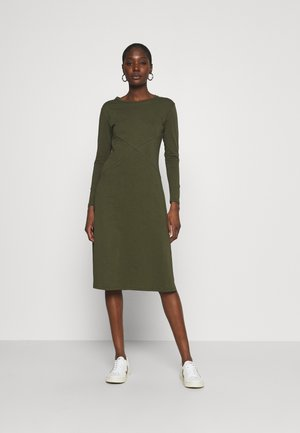 LONG SLEEVE SIDE SPLIT MIDI DRESS - Žerzejové šaty - olive