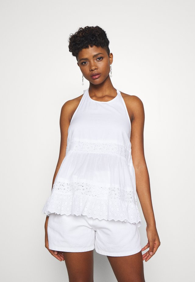 V NECK WITH LACE TRIM - Bluzka - white
