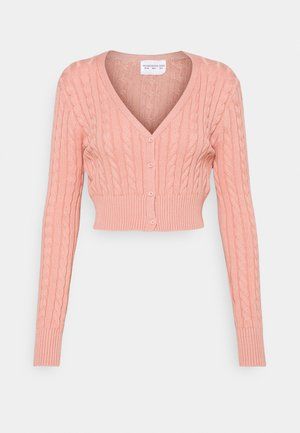 CABLE KNIT CROPPED  - Cardigan - dusty peach