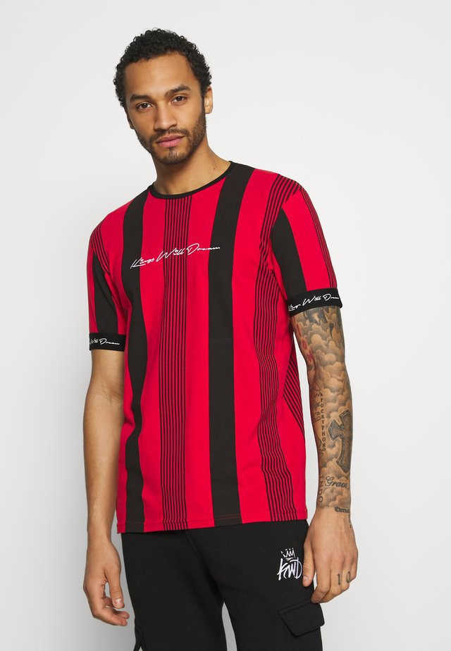 VEDTON STRIPE TEE - T-shirt imprimé - red/black