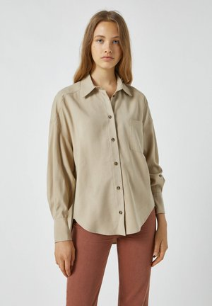 Button-down blouse - mottled beige