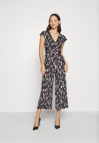 Anna Field - OCCASION - ALL OVER PRINT SHORT SLEEVES FRONT KNOT JUMPSUIT - Jumpsuit - black/multi-coloured - 0