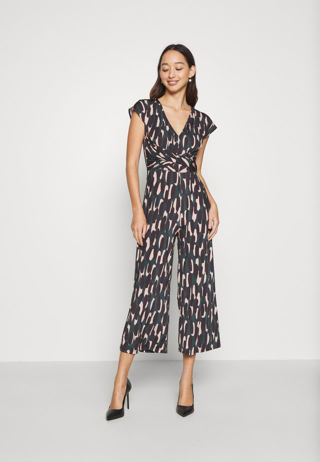 OCCASION - ALL OVER PRINT SHORT SLEEVES FRONT KNOT JUMPSUIT - Jumpsuit - black/multi-coloured
